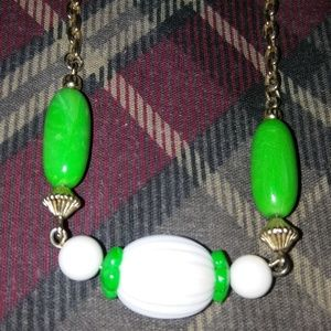 Vintage Green White Adjustable Choker Signed Avon